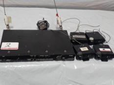 LOT - TELEX BTR-200II WIRELESS INTERCOM SYSTEM W/BASE STATION & (4) BELT PACKS