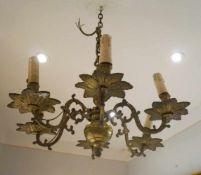 Schwere Deckenkrone im flämischen Stil, Bronze, 19.Jhd.