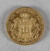 Goldmünze, 20 Mark, Hamburg, 1913 J