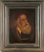 Porträt eines Bärtigen mit Goldkette und roter Kappe, wohl deutsch, 2. Hälfte 18. Jh.