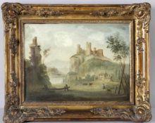 Ideallandschaft mit der Ruine einer mittelalterlichen Höhenburg sowie einer späteren Kirchen- oder