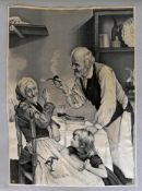 """Seidenbild nach dem Gemälde """"Altes Paar und Enkelkind"""""""