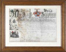 Zunftbrief, 1789, des Landeshauptmanns der Bierbrauer- und Metzgerhandwerks des Reichgrafschaft