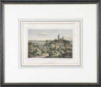 """""""Kirkel bei Zweibrücken"""" - Original-Lithographie in dekorativem Handkolorit von Friedrich Hohe ("""