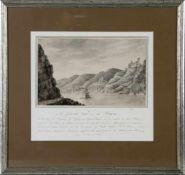 Die Pfalz im Rhein mit der Burg Gutenfels und Kaub im Hintergrund, Original-Zeichnung in Sepia von