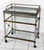 Serviertisch aus Messing, Stahl und Glas, 2. H. 20. Jh.