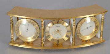 Uhr mit Achttagewerk sowie Thermometer und Barometer, Marke Angelus Schweiz, 2. H. 20. Jh.