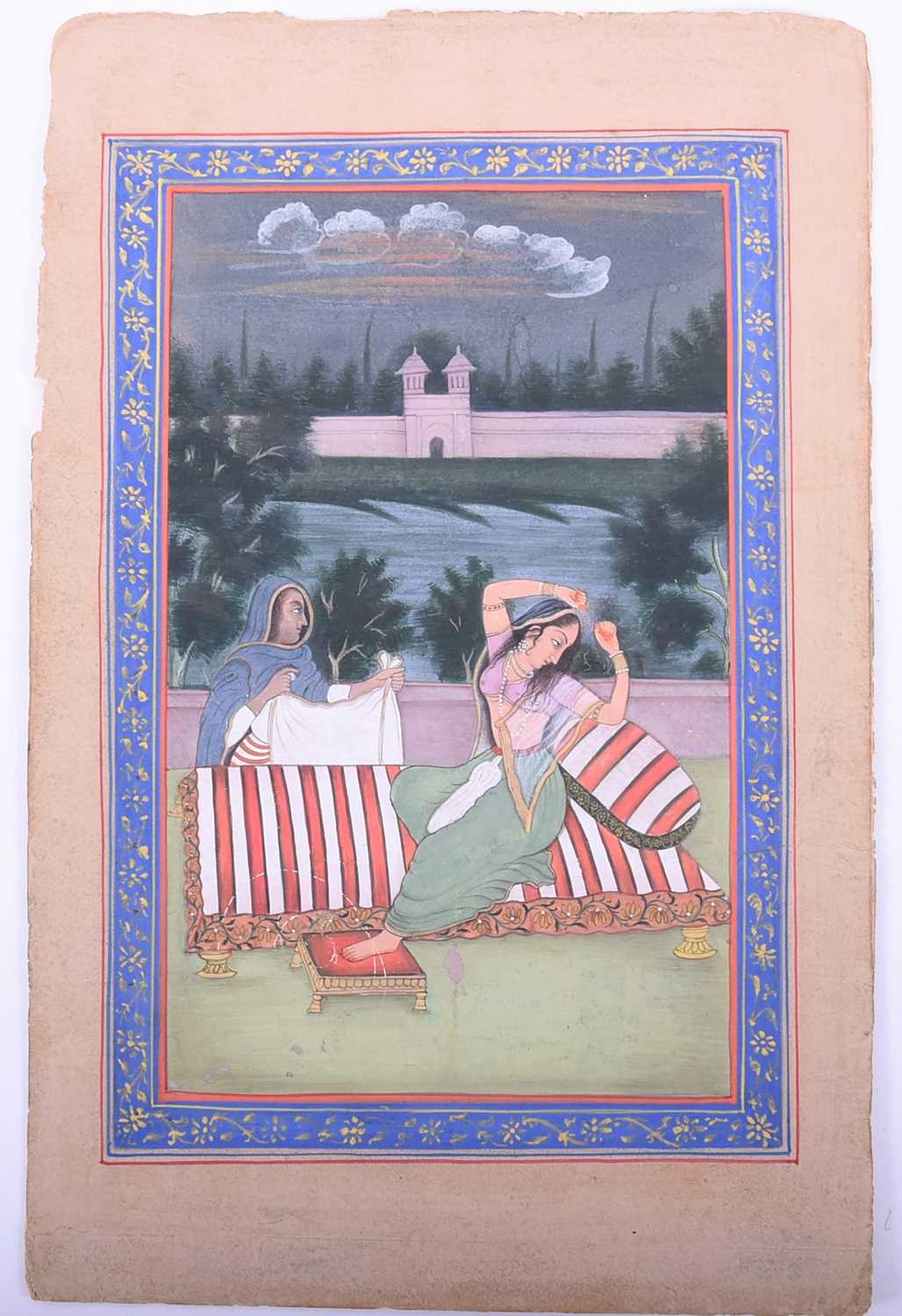 Lot 230 - 19th century Indian School, a princess arising from a charpoy, an attendant in waiting, within a
