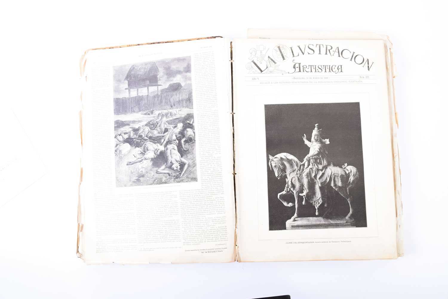 Lot 61 - 'Ilustración Artística', a finely leather-bound volume of several copies of the Spanish art