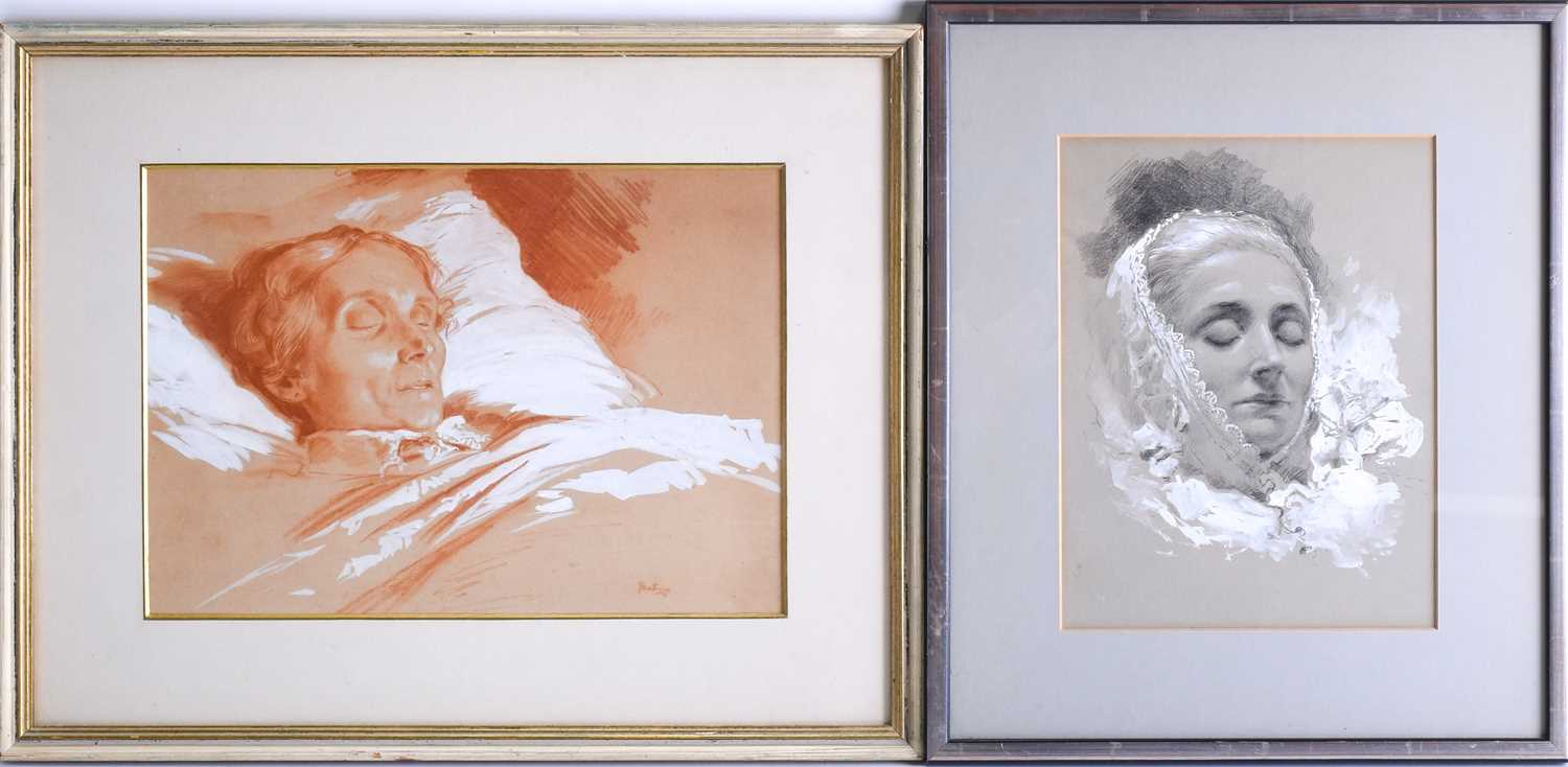 Lot 26 - Fortunino Matania (1881-1963) Italian, two macabre pencil and gouache drawings of a the artist's