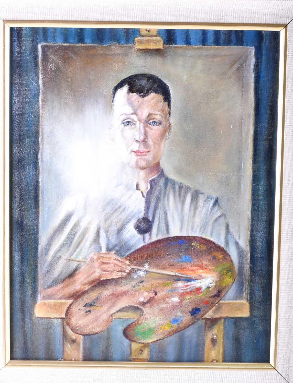 Lot 8 - Franco Matania (1922-2006) Italian/British, an experimental unsigned oil on canvas self-portrait