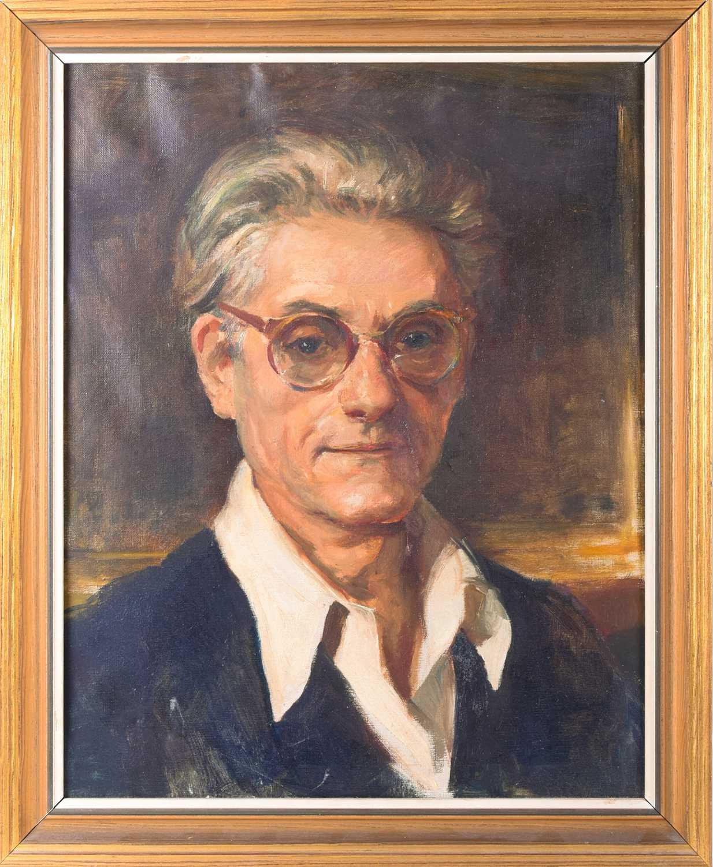 Lot 12 - Ugo Matania, (Italian 20th Century), a self-portrait, oil on canvas in a part gilt. 47cm x 57cm.