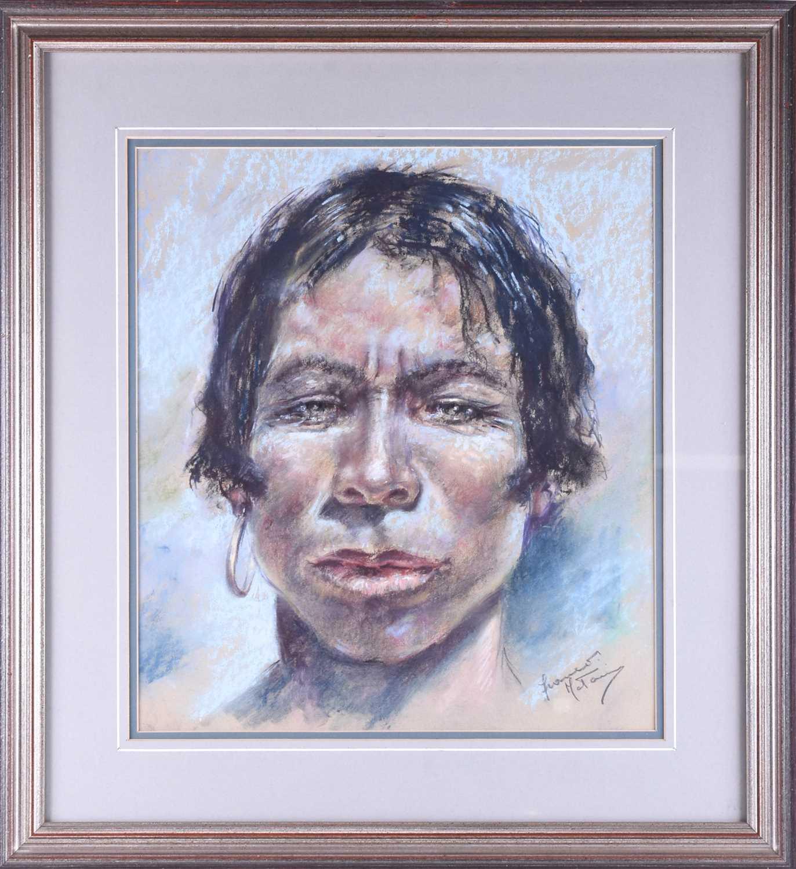 Lot 25 - Franco Matania (1922-2006) Italian/British, three pastel studies, comprising a head and neck