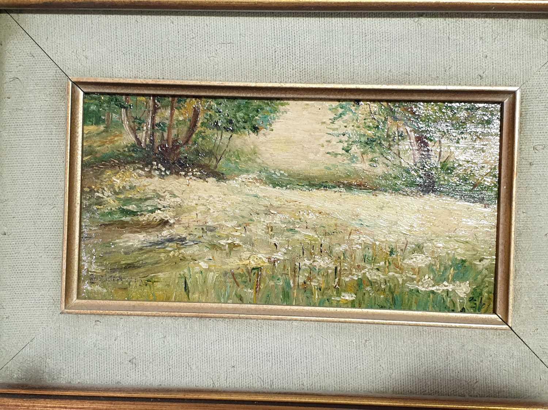 Lot 11 - Eduardo Matania (1847-1929) Italian, a small rural landscape, signed E. Matania, oil on board,