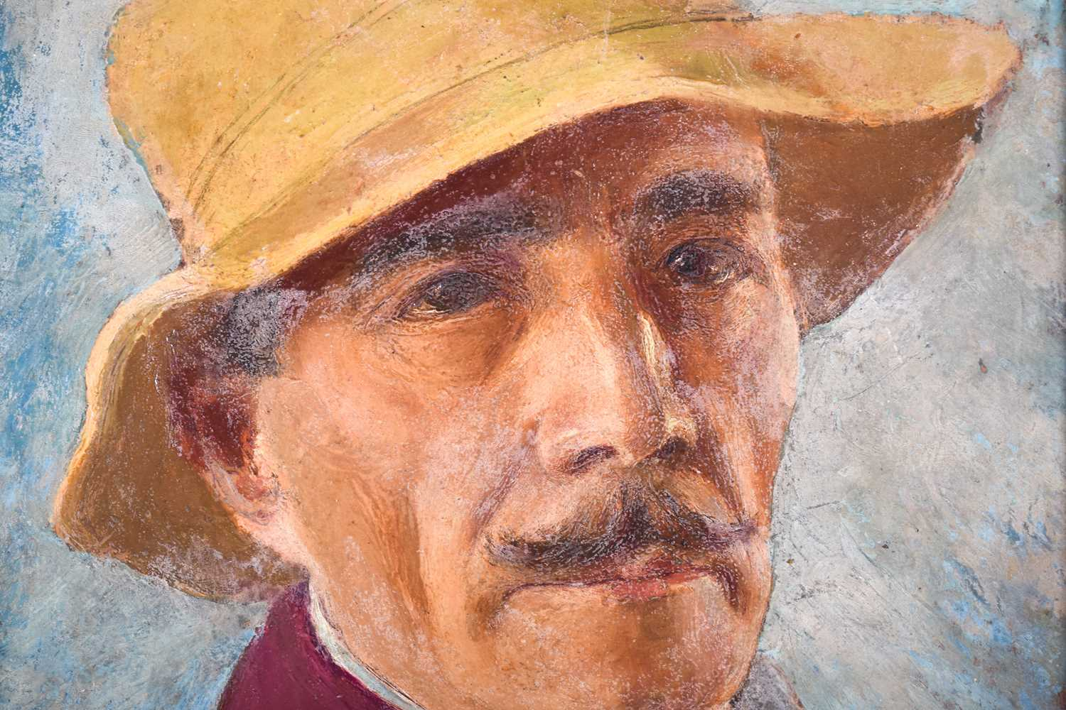 Lot 33 - Fortunino Matania (1881-1963) Italian, an unfinished portrait of a man in a yellow hat, possibly