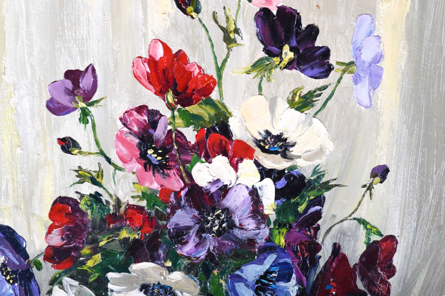 Lot 13 - Franco Matania (1922-2006) Italian/British,a large still life floral arrangement, oil on canvas,