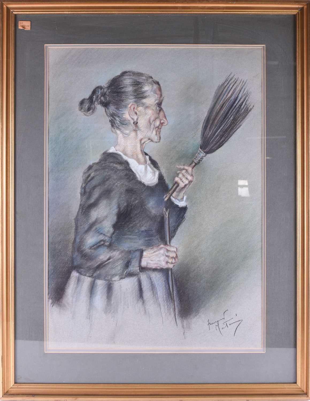Lot 2 - Franco Matania (1922-2006) Italian/British, two pastel studies, 'The Broken Spell', an elerderly