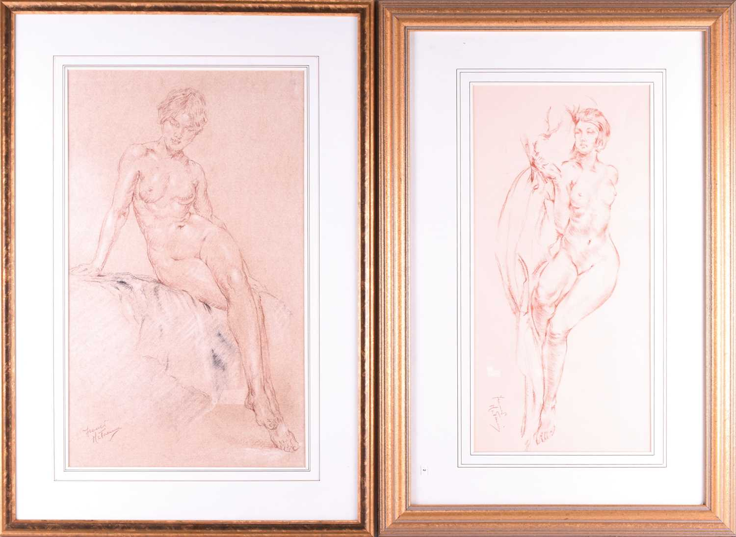Lot 34 - Franco Matania (1922-2006) Italian/British, two pastel studies of female nudes, each framed and