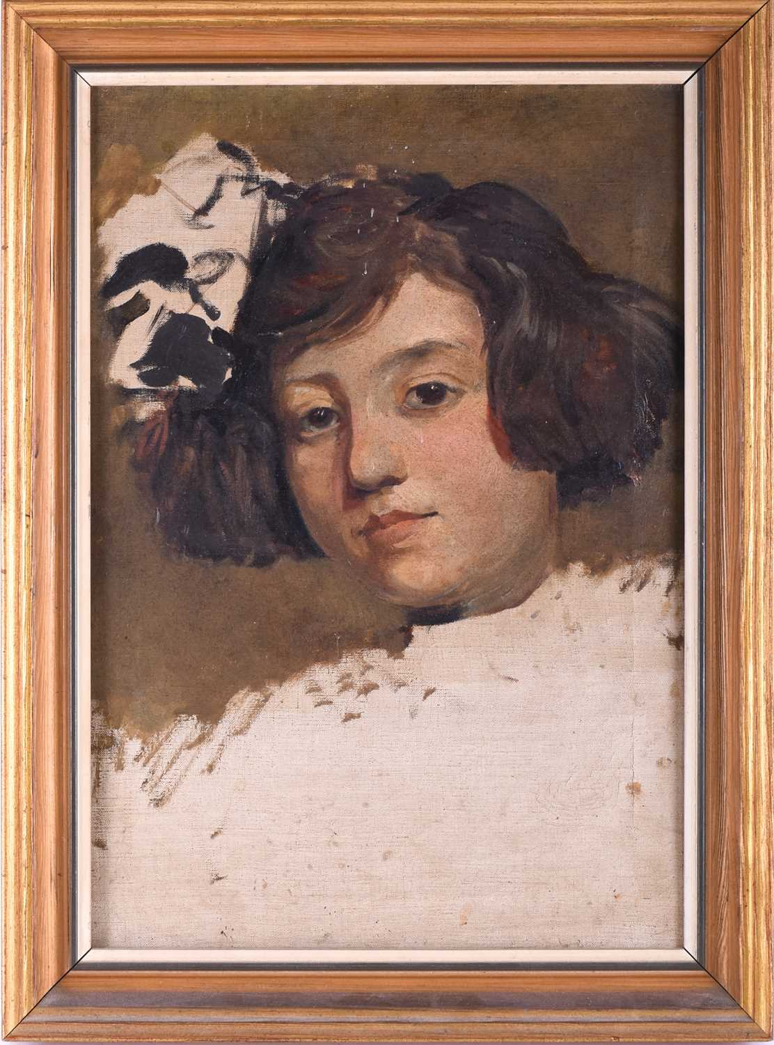 Lot 22 - Fortunino Matania (1881-1963) Italian, an unfinished portrait of a young girl, most likely a