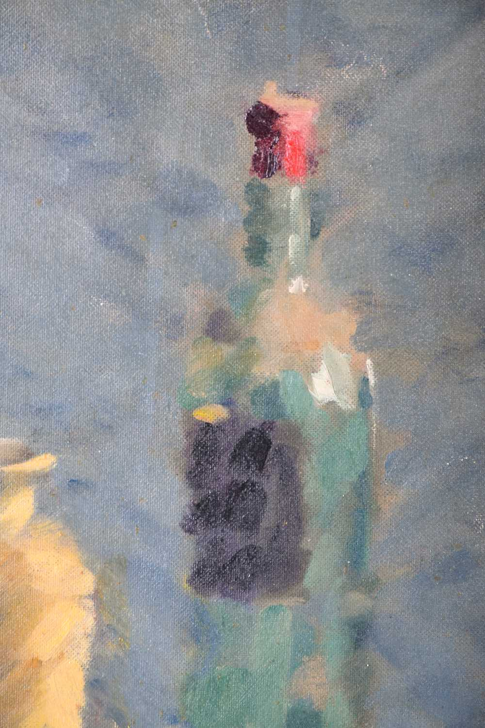 Lot 14 - A mid 20th century still life painting of a wine bottle and vase, oil on board, signed Wilson, in