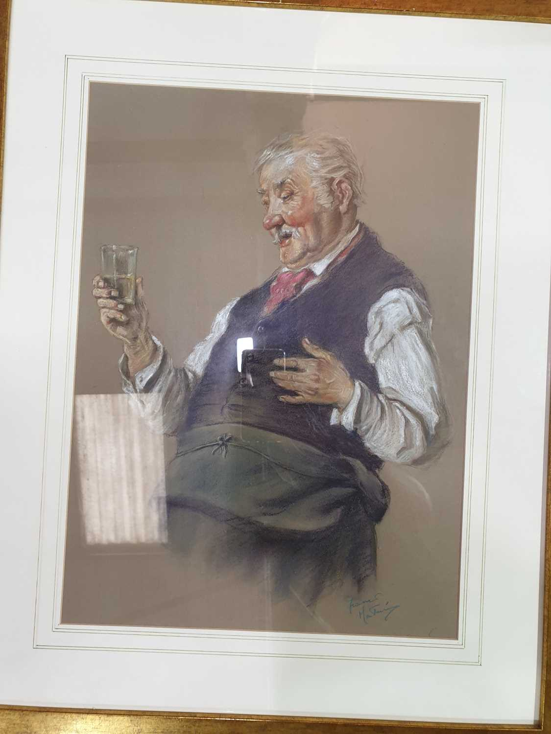 Lot 53 - Franco Matania (1922-2006) Italian/British, a pastel drawing of a barman with drink together with