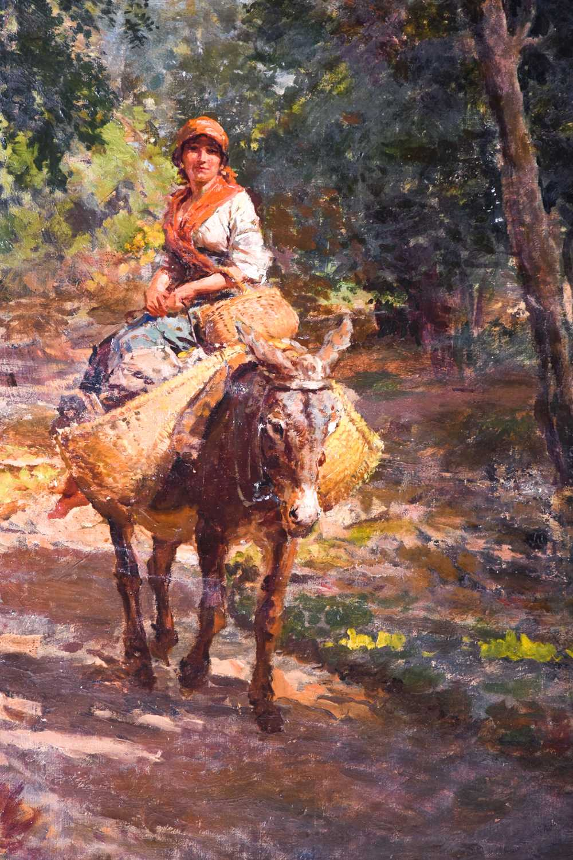 Lot 19 - Eduardo Matania (1847-1929) Italian, a gypsy traveller riding a donkey in a forest, signed E.