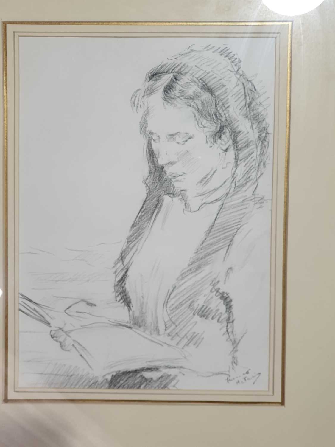 Franco Matania (1922-2006) Italian/British, a group of four pencil/pastel on paper sketches of women - Image 3 of 6