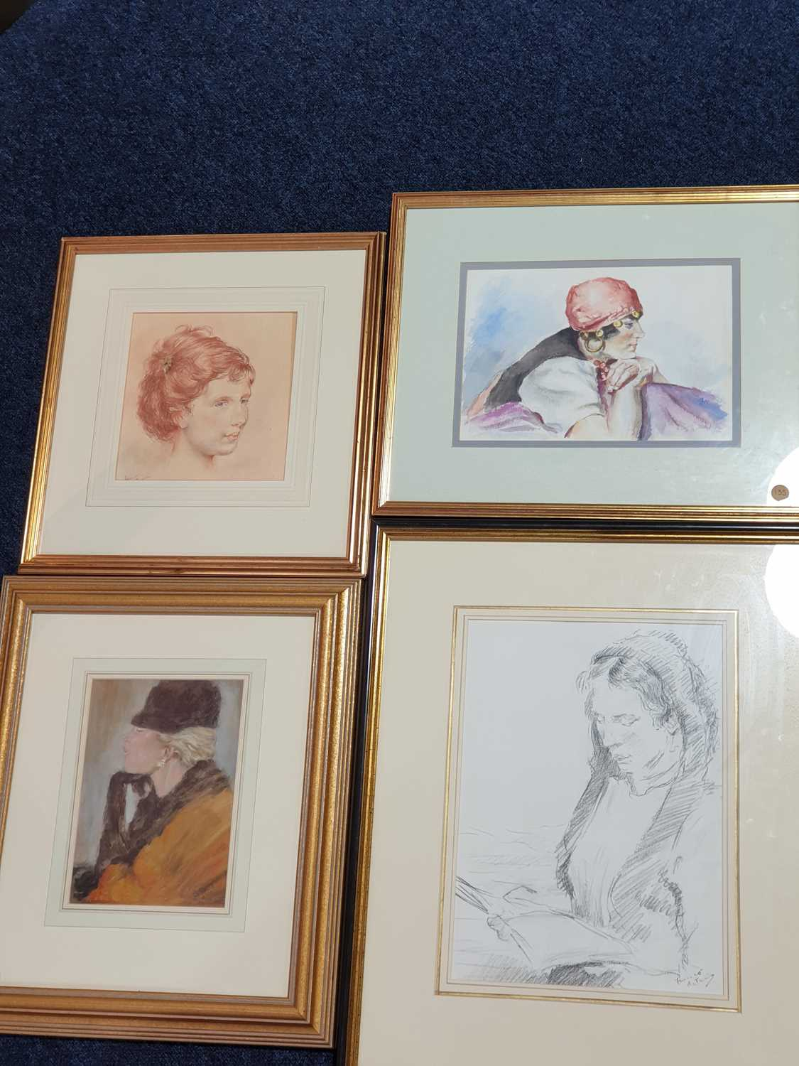 Franco Matania (1922-2006) Italian/British, a group of four pencil/pastel on paper sketches of women