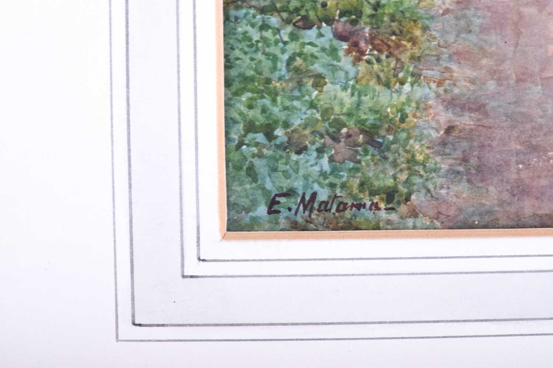Lot 21 - Eduardo Matania (1847-1929) Italian, a rural cottage scene, watercolour on paper, together with a