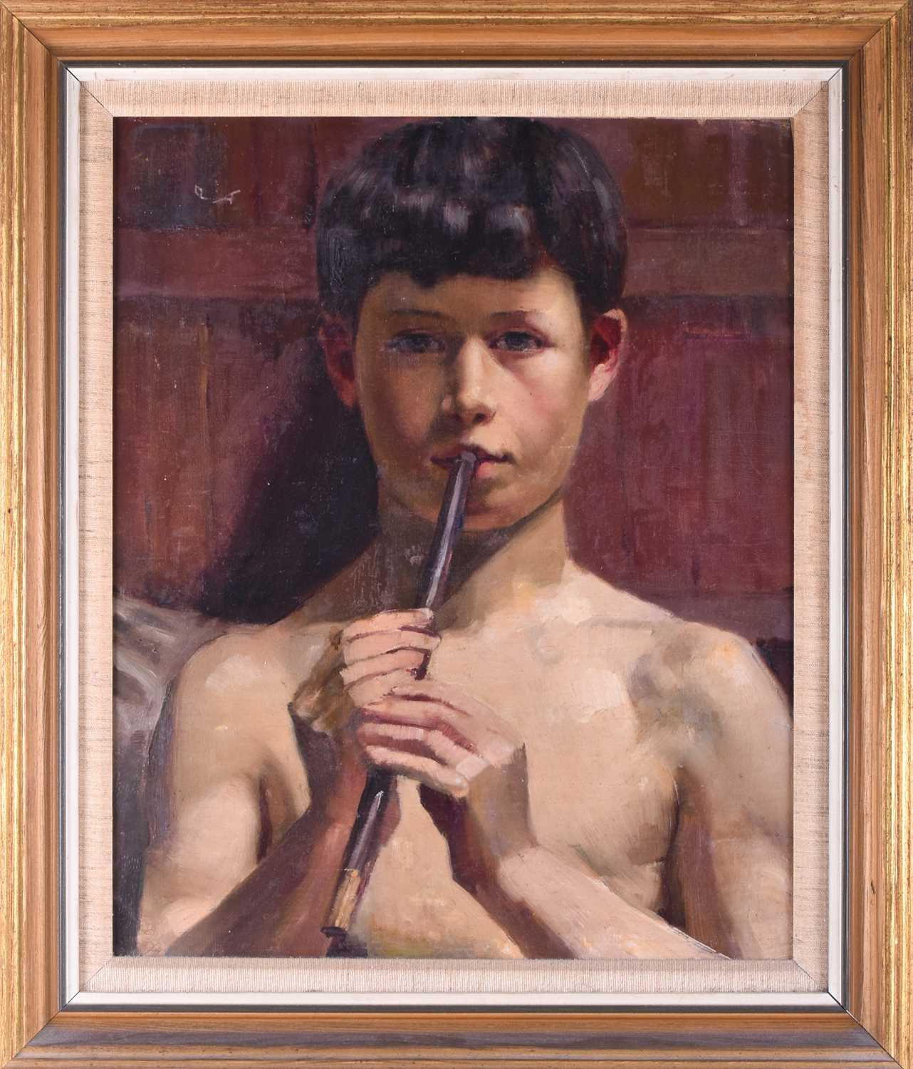 Lot 15 - Attributed to Eduardo Matania (1847-1929) Italian, a portrait of a semi-nude young boy playing the