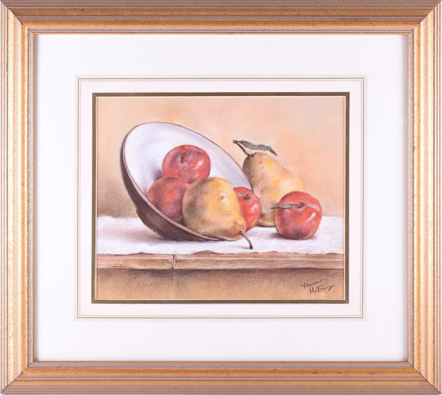 Lot 38 - Franco Matania (1922-2006) Italian/British, a still life 'Apples and Pears', pastel on paper, signed