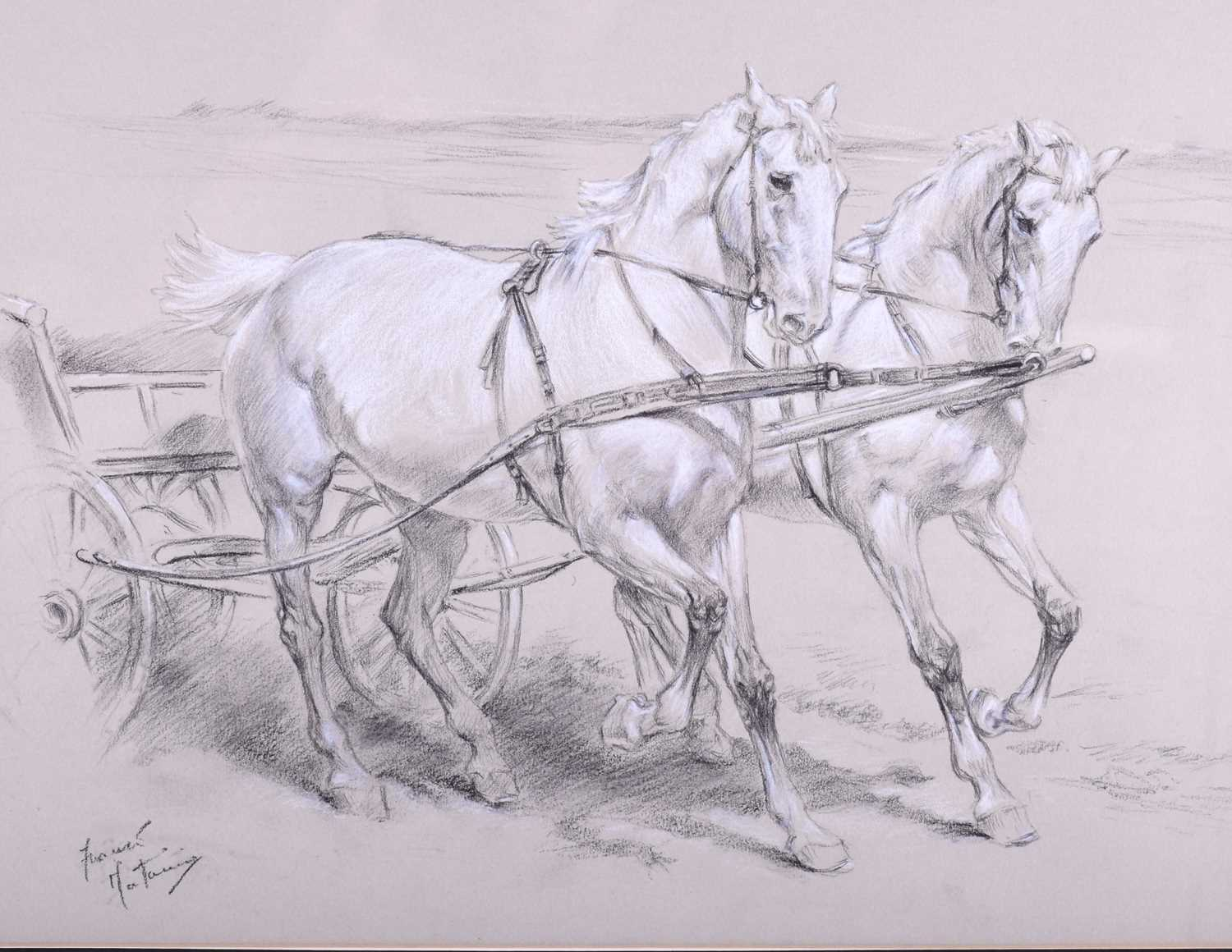 Lot 51 - Franco Matania (1922-2006) Italian/British, a group of three horse pictures to include a pastel of