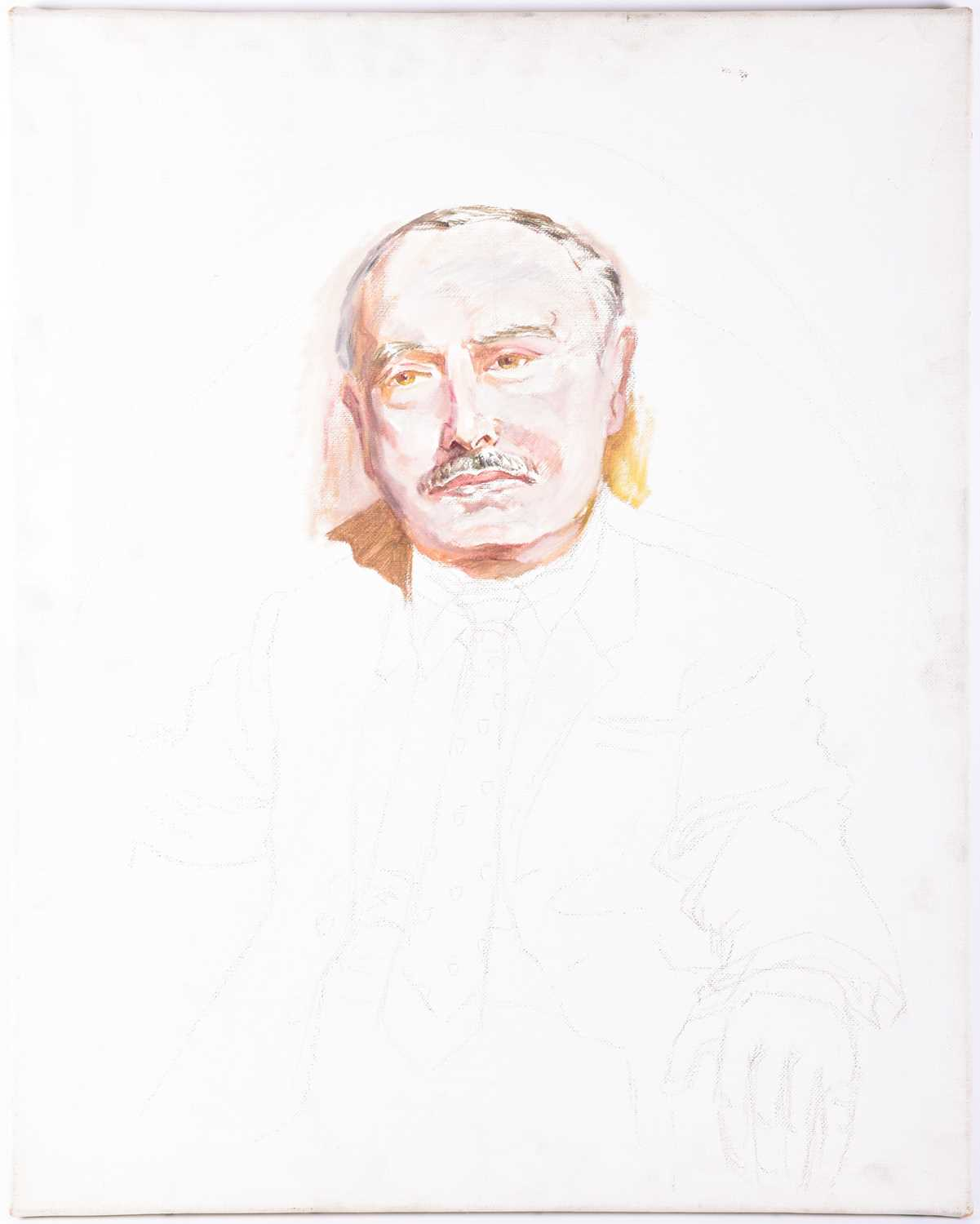 Lot 3 - Franco Matania (1922-2016), an unfinished portrait of the artist Fortunino Matania, oil on canvas,