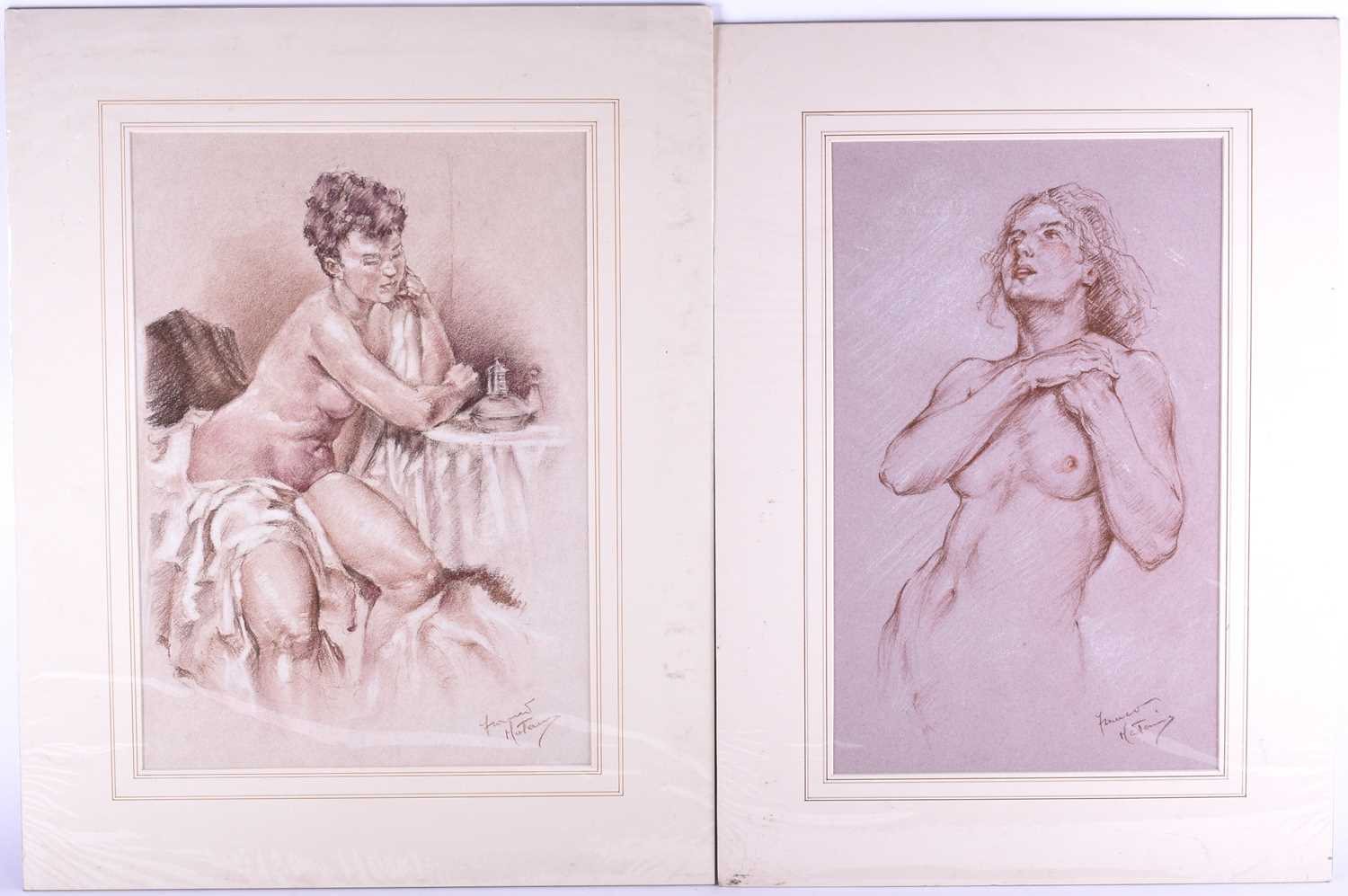 Lot 35 - Franco Matania (1922-2006) Italian/British, a group of eight pastel sketches and portraits of nude