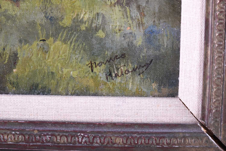 Lot 18 - Franco Matania (1922-2006) Italian/British, a landscape scene 'Umbrella Pines of Tuscany' oil on