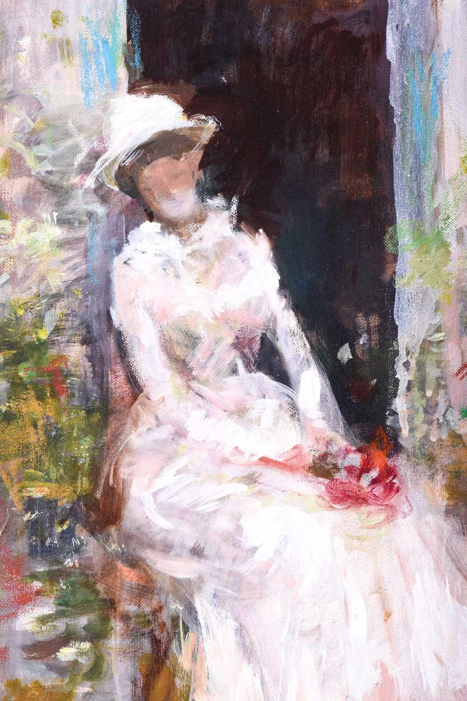 Lot 6 - Eduardo Matania (1847-1929) Italian, an Impressionist style painting of a woman in a white dress,