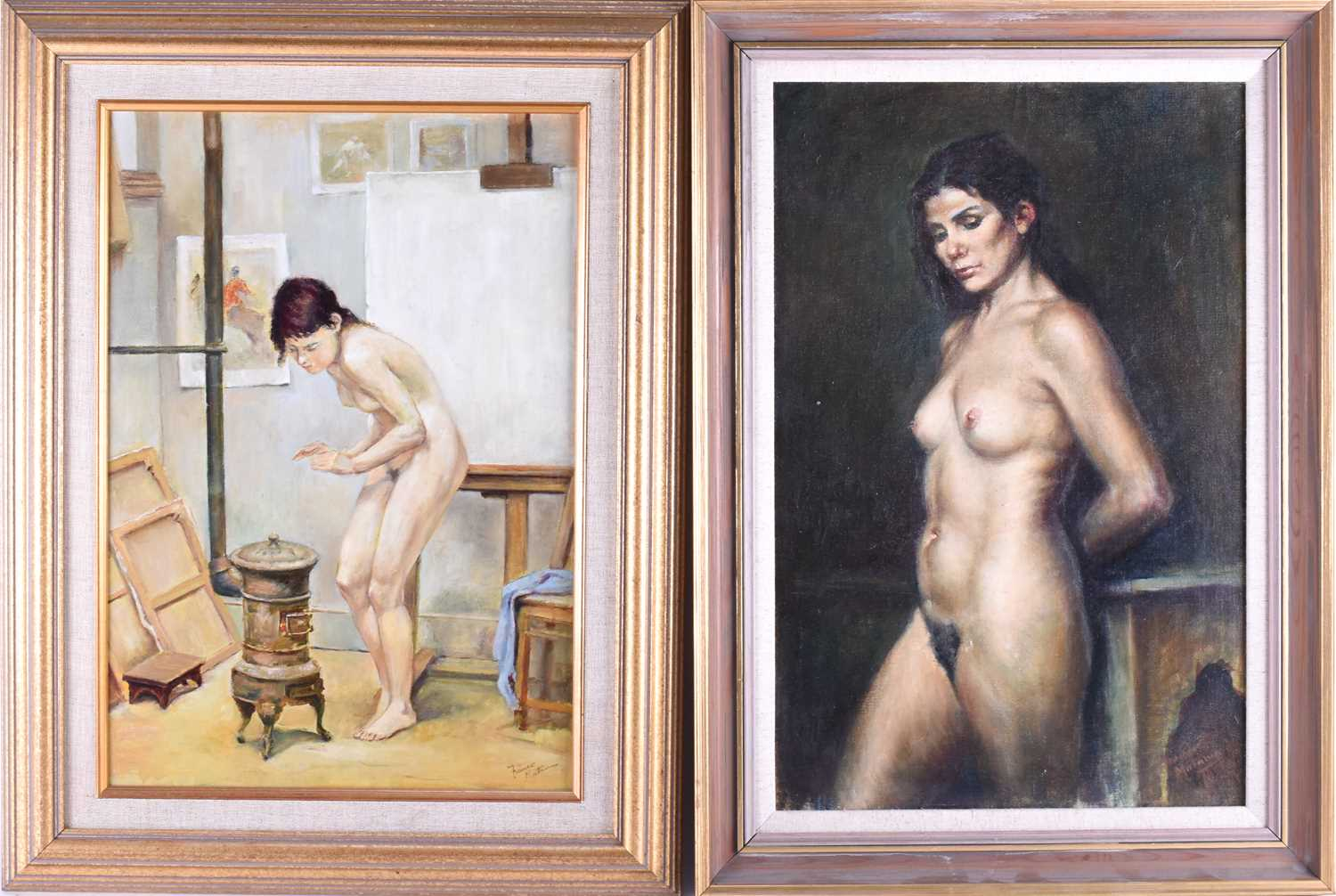 Lot 10 - Franco Matania (1922-2006) Italian/British, a portrait of a nude woman standing against a Morrocan