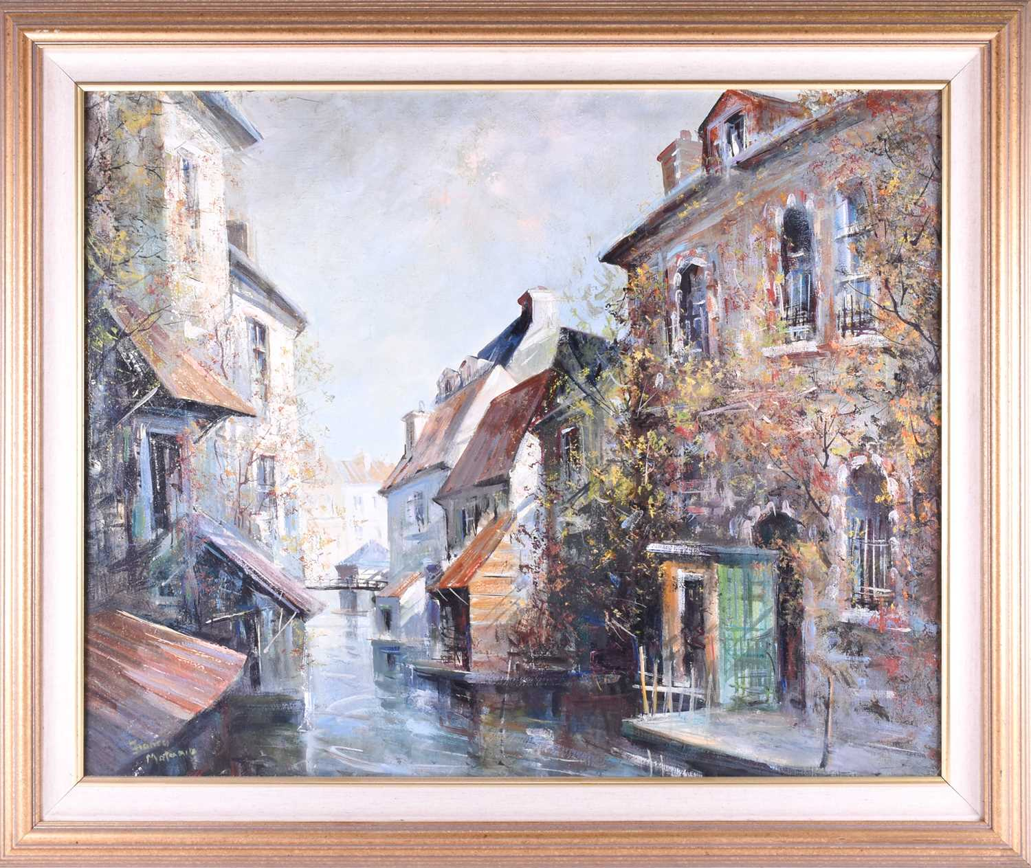 Lot 20 - Franco Matania (1922-2006) Italian/British, 'Canal Town No.2400', oil on panel, signed to lower left