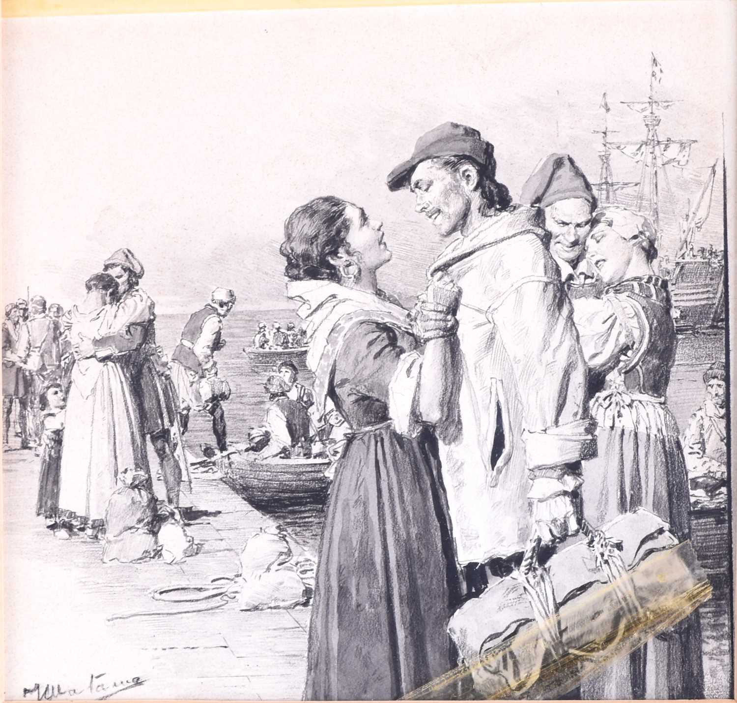 Lot 39 - Fortunino Matania (1881-1963) Italian, a group ink drawing of families by a dock inscribed 'Page