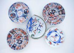 '有田烧' 花卉盘一组 (五个),18世纪和19世纪,