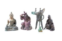 Three Chinese bronzes, comprising a late Ming period 中国,青铜器三件,明/清,及其他 seated figure of Guanyin; a
