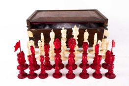 A rare Chinese Canton carved natural and stained ivory figural chess set, 19th century, 中国,