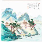 中国,瓷板山水画一件,民国风格