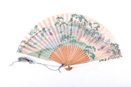 A Japanese ivory Shibayama fan, Meiji Period, 日本,芝山象牙扇,明治时期 the guards decorated with shibayama