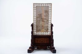 A Chinese carved ivory table screen, 17th/18th century, 中国,牙雕桌屏一件,17/18世纪 of rectangular form,