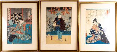 Nine Japanese woodblock colour prints, 19th century, 日本,木版彩印九件,19世纪 each depicting various actors,