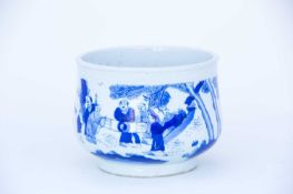 A Chinese blue & white censer, late Qing, 中国, 青花双色香炉一件,晚清 of slightly compressed form, with anhua