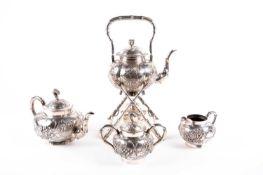 "A Chinese four piece silver tea set by Yok Sang, 19th century, 中国, 四件'翰生'银茶具一套,19世纪,""Yok Sang""和'翰生"""