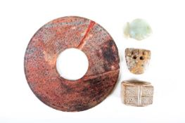 Four Chinese jades, Neolithic, Shang and Han dynasties, 中国, 玉器四件,石器时代,商,汉代 comprising a chicken bone