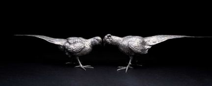Two large Spanish silver pheasants, circa 1960's, each naturalistically modelled, struck to the tail